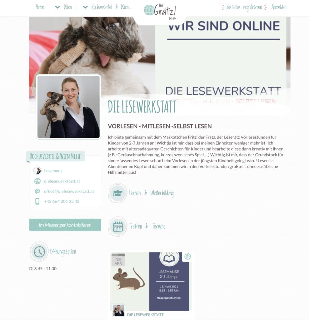 """Beitrag der Lesewerkstatt auf der Website """"im Grätzl""""."""