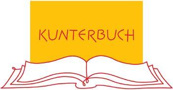 Logo des Kinderbuchladens Kunterbuch. Man sieht ein aufgeschlagenes Buch und einen Schriftzug